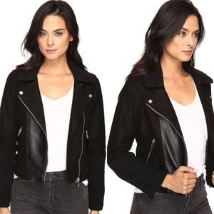 Blank NYC Suede and Cable Moto Biker Jacket Black